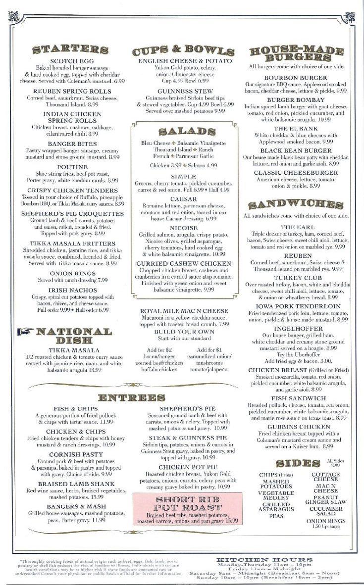 Food Menu | The Royal Mile